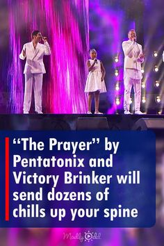 """The combo delivers a scintillating rendition of 'The Prayer' much to the delight of everyone, but especially Pentatonix fans who have been waiting """"forever"""" for the vocal group to attempt the perennially popular song. """"The Prayer"""" was originally performed by Canadian singer Celine Dion and Italian tenor Andrea Bocelli for the 1998 animated classic Quest for Camelot. #AGT #AmericasGotTalent #TVShows #Music #Song America's Got Talent Videos, Quest For Camelot, Tyra Banks, Pentatonix, Celine Dion, Looking Back, Victorious, The Voice, Chill"""