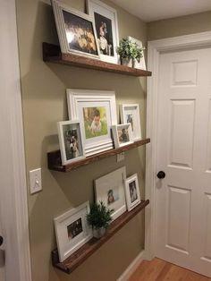 Wall decored living room shelves photo ledge 54 Ideas for 2019 Photo Ledge Display, Photo Shelf, Picture Shelves, Picture Ledge, Shelf Display, Gallery Wall Shelves, 3 Picture, Wooden Picture, Floating Shelves Books