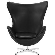 Ägget basic läder svart, returmekanism från Fritz Hansen – Köp online på Rum21.se