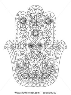 Hand-Drawn Henna Abstract Mandala Flowers and Paisley Doodle, Coloring Page - stock vector Más Paisley Doodle, Mandala Art, Mandala Design, Hamsa Design, Flower Mandala, Lotus Flower, Hamsa Art, Mandala Coloring, Doodle Coloring