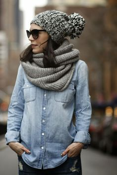 Casual fall look | Denim shirt, grey infinity scarf and beanie