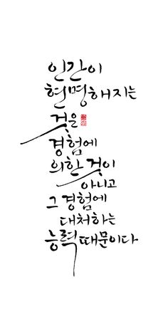 calligraphy_ 인간이 현명해지는 것은 경험에 의한 것이 아니고, 그 경험에 대처하는 능력때문이다_데카르트 Wise Quotes, Famous Quotes, Words Quotes, Sayings, Typography Letters, Lettering, Good Sentences, Cool Words, Life Lessons