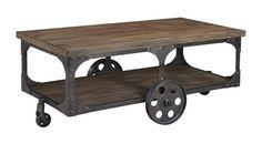 Vennilux Gray Brown Wood Metal Rectangular Cocktail Table
