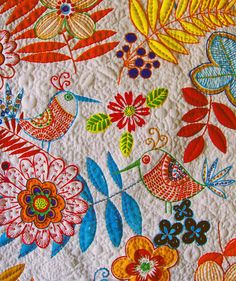 applique, embroidery and hand quilting ~ Applique Quilts, Embroidery Applique, Cross Stitch Embroidery, Embroidery Designs, Crazy Quilting, Hand Quilting, Textiles, Art Du Fil, Embroidered Bird