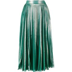 Gucci Gucci Pleated Metallic Skirt (113,475 INR) ❤ liked on Polyvore featuring skirts, green, green metallic skirt, pleated skirt, gucci, metallic skirt and gucci skirt