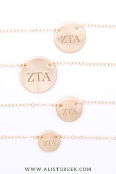 Available in 4 metal options and 5 disc sizes, this engraved Zeta Tau Alpha disc charm necklace will make the cutest gift for any and every ZTA sister. Design your perfect greek letter necklace at www.alistgreek.com! #circle #disc #necklace #sororitynecklace #customgift #personalized #handmade #custom #sororityjewelry #greekletters #sororityletters #loveyourletters #bidday #biglittle #zta #zeta #zetataualpha