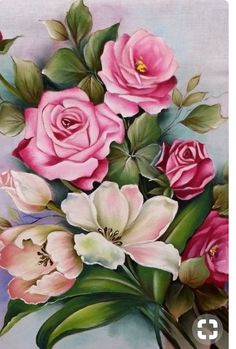 Pink Rose by Alina-Kurbiel Oil Painting Flowers, China Painting, Fabric Painting, Flower Images, Flower Art, Decoupage Vintage, Watercolor Cards, Botanical Illustration, Beautiful Roses