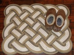 32 x 24 Bathmat Rug Soft Lay Cotton and Natural with Tan Trim Rope Rug Bath Mat Tightly Woven Knotted Nautical Marine Beach Coastal by AlaskaRugCompany on Etsy