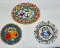 Vintage Micro Mosaic Pins - My mother has a large collection of these. They would be a lovely artifact to feature. - Sarah