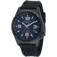 Torgoen T05303 aviator's watch with black, ion-plated stainless steel case, black dial with luminescent hands and hour markers on a black polyurethane band.