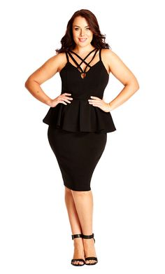 City Chic Deep V Strappy Dress - Women's Plus Size Fashion City Chic - City Chic…