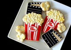 Movie Party Fancy Cookies, Iced Cookies, Cut Out Cookies, Cute Cookies, Royal Icing Cookies, Cupcake Cookies, Sugar Cookies, Cookies Et Biscuits, Cupcakes