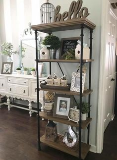 The Importance of Kitchen Shelf Decor Farmhouse Style Open Shelving – apikho… - Bücherregal Dekor Kitchen Shelf Decor, Farmhouse Wall Decor, Farmhouse Style, Living Room Shelf Decor, Ladder Shelf Decor, Farmhouse Interior, Farmhouse Furniture, Kitchen Shelves, Rustic Apartment Decor