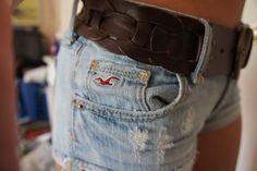 light blue Hollister shorts; brown belt <3