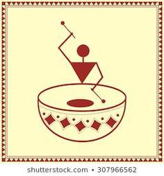 Indian tribal Painting. Warli Painting Worli Painting, Painting Wallpaper, Fabric Painting, Tribal Pattern Art, Tribal Art, Saree Painting Designs, Indian Wall Art, African Art Paintings, Mini Canvas Art