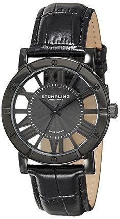 Stuhrling-Original-Winchester-Mens-Black-Watch-Swiss-Quartz-Analog-Date-Wrist-Watch-for-Men-Black-IP-Stainless-Steel-Mens-Designer-Watch-with-Black-Genuine-Leather-Strap-88103