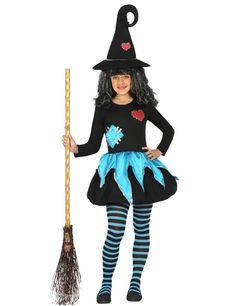 Disfraz bruja con remiendos niña Halloween: Este disfraz de bruja para niña incluye un vestido y un sombrero (escoba, medias y zapatos no incluidos).El vestido es corto de color negro con un corazón rojo y un parche azul cosido...