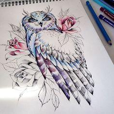 New Tattoo Feather Thigh Tatoo 27 Ideas Feather Tattoos, Body Art Tattoos, New Tattoos, Sleeve Tattoos, Tattoos Pics, Bird Tattoos, Tatoos, Owl Tattoo Design, Tattoo Designs