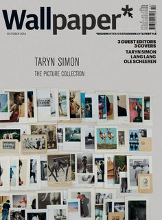 """Wallpaper* October 2012 Taryn Simon Mid-Manhattan Library Picture Collection cover, the subject heading """"Rear Views""""."""