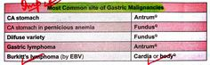 Most common site of Gastric Malignancies . Note : Gastric Ca - Antrum but Gastric Ca with perinicious anaemia - Fundus Burkitt's Lymphoma, Most Common, Notes, Report Cards