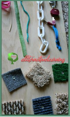 DIY Sensory Board for Babies and Toddlers. An idea list for ways to swap out items and make a fun busy bored your kids will love. Even pictures of multiple board ideas.