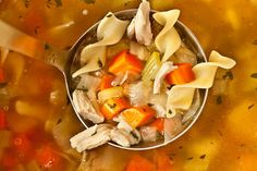 Easy Chicken Noodle Soup from a Leftover Roasted Chicken from Chow (http://punchfork.com/recipe/Easy-Chicken-Noodle-Soup-from-a-Leftover-Roasted-Chicken-Chow)