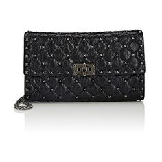 Valentino Women's Rockstud Spike Shoulder Bag (10,745 CNY) ❤ liked on Polyvore featuring bags, handbags, shoulder bags, black, chain-strap handbags, chain strap shoulder bag, shoulder strap bags, valentino handbags and leather handbags