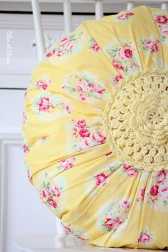 Lovely pink and yellow pillow. Crochet Cushions, Sewing Pillows, Pin Cushions, Mellow Yellow, Pink Yellow, Pink And Green, Cute Pillows, Throw Pillows, Honeysuckle Cottage