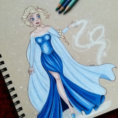 Made a Elsa drawing with prismacolors on toned tan paper. Glad it turned out ok :)