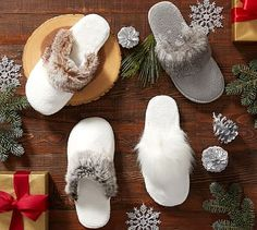 Faux Fur Slippers in white - these are EVERYTHIGN!!