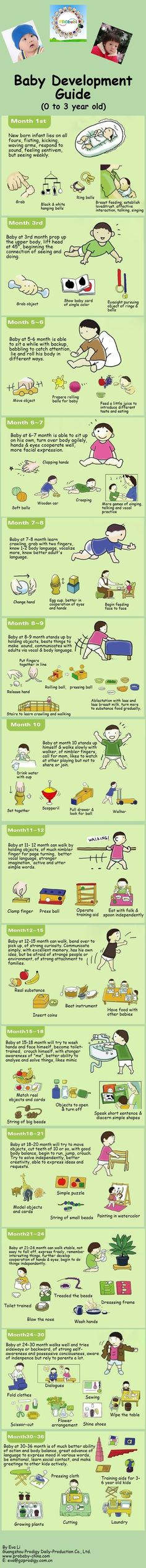 Baby Development Guide | Wont do some of the things suggested but overall a nice info graphic