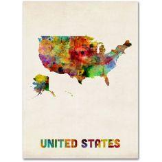 Trademark Fine Art US Watercolor Map Canvas Art by Michael Tompsett, Size: 24 x 32, Multicolor