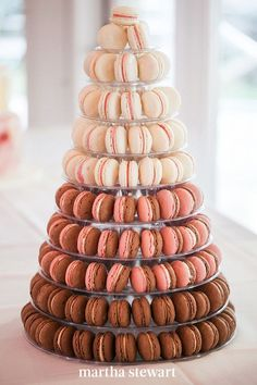 Take note of this macaron display if you're partial to the crowd-favorite French pastries. A custom stand allowed the Gâteau bites to be turned on edge and stacked in a unique ombré pattern, creating a cohesive, elegant display. #weddingideas #wedding #marthstewartwedding #weddingplanning #weddingchecklist Creative Wedding Cakes, Creative Desserts, Cool Wedding Cakes, Beautiful Wedding Cakes, Wedding Desserts, Dream Wedding, Camp Desserts, Macaroons Wedding, Wedding Cookies