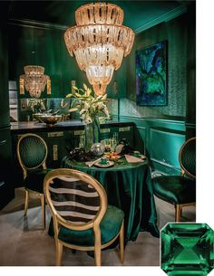 """It's said that the intense green of an emerald cannot be matched by any other shade found in nature. In this petite dining space, Calder Design Group didn't shy away from the decadent hue, using it across every surface, even the ceiling. When everything is one color, Nicholas Calder said, """"you create infinity.""""   Calder Design Group Malachite Emerald Room"""