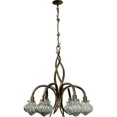 Transitional chandelier in bronze made from recycled vintage glass and steel.