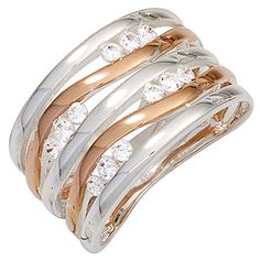 ring women& from 925 Silver part of red gold plated Zirconia white Ladies, 925 Silver, Jewelry Watches, Rings For Men, Fine Jewelry, Wedding Rings, Engagement Rings, Lady, Bracelets, Trends 2018
