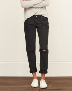 A black boyfriend jean is nice too, and you could also get a pair of ripped skinny jeans in a size or two bigger than your normal size, or straight let ripped jeans. But boyfriend cut works best for the baggy butt area especially lol
