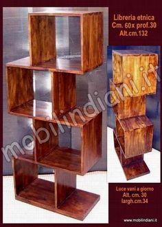 Libreria Zig Zag colore scuro in legno massello di acacia ...
