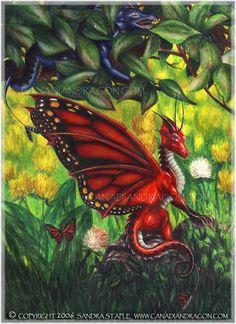 """Deep Blue Assassin,"" Fairy Dragon Color Pencil Drawing, 1995"