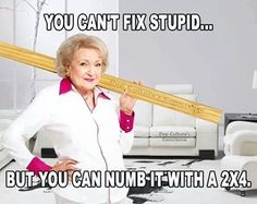 You cant fix stupid funny quotes memes quote meme lol funny quote funny quotes humor stupid betty white