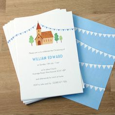 personalised boy's christening invitations by made by ellis   notonthehighstreet.com
