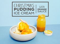 Christmas pudding ice cream with orange sauce - How to make the most of your Christmas pudding leftovers!  #christmas #pudding #christmaspudding #icecream #icecreamflavours #christmasflavour #orangesauce #gousto