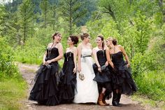 Dramatic Black Bridesmaid Dresses { Rustic Vintage Inspired Ranch Wedding in Wyoming: Alissa Ferullo Photography / Eatons' Ranch, Wolf, WY / Woodsy Weddings Blog - WoodsyWeddings.com }