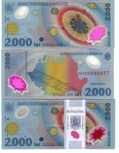 Colorful Romanian money.