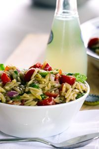 Orzo Pine Nut Salad -Serves: 6-8 ·2 1/2c orzo ·5T olive oil ·5t balsamic vinegar (or more to taste) ·10 cherry/grape tomatoes ·5c coarsely chopped arugula ·5T basil, chiffonade ·5T toasted pine nuts -Cook orzo. Toss w olive oil, vinegar; cool to room temp. Stir in tomatoes, arugula, pine nuts, vinegar, salt, pepper.
