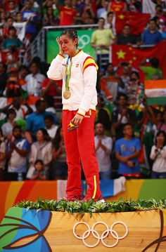 Gold medalist Carolina Marin of Spain reacts during the medal ceremony after the Women's Singles Badminton competition on Day 14 of the Rio 2016 Olympic Games at Riocentro - Pavilion 4 on August 2016 in Rio de Janeiro, Brazil. Rio Olympics 2016, Winter Olympics, P V Sindhu, 2016 Pictures, Sporty Girls, Single Player, Rio 2016, Badminton, Olympic Games