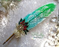 Etsy :: Your place to buy and sell all things handmade Feather Painting, Feather Art, Feather Pens, Feather Jewelry, Arts And Crafts, Paper Crafts, Diy Crafts, Quill And Ink, Calligraphy Pens