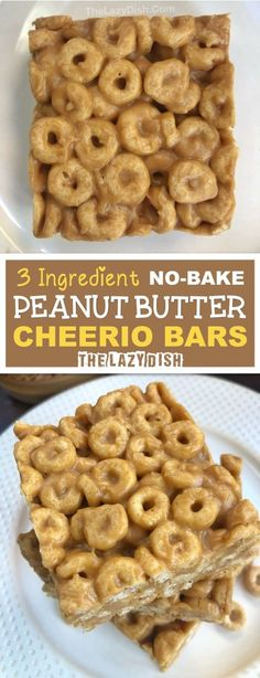 No-Bake Peanut Butter Cheerio Bars Ingredients!) No-Bake Peanut Butter Cheerio Bars Ingredients!),The Lazy Dish 3 Ingredient No Bake Peanut Butter Cheerio Bars – A healthy snack or on the go treat made. Easy Snacks For Kids, Healthy Snacks To Buy, Simple Snacks, Healthy Baked Snacks, Healthy Recipes, Kid Snacks, Fun Easy Breakfast Ideas, Easy Peanut Butter Recipes, Easy Healthy Deserts