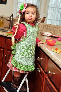 Children's Small Slip On Cooking Apron by QuiltandQuest on Etsy, $25.00