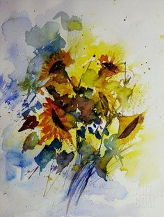 Watercolor Sunflowers Stretched Canvas Print